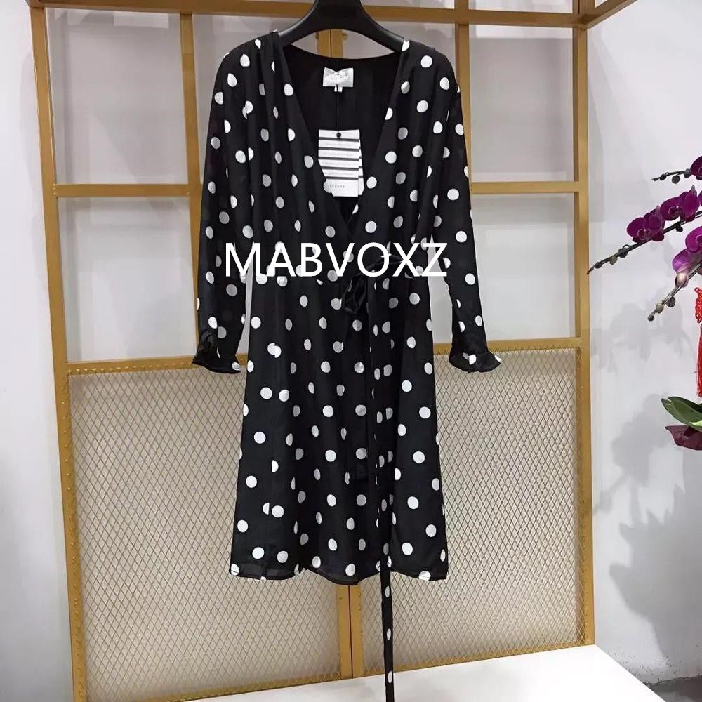 2019 New Women Wrap Dress Polka Dot Print and Flower Print V Neck Sweet Dress With