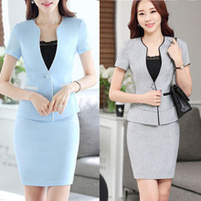 Women Plus Size Sexy Work Business Skirt Suits Set Blazers Office Casual Formal OL Elegant Skinny Cut Out Gray Runway Suit