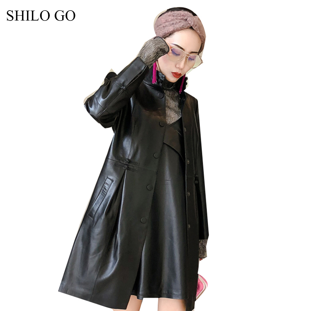 SHILO GO Leather   Trench   Womens Spring Fashion sheepskin genuine leather long turtleneck collar single breasted office lady coat