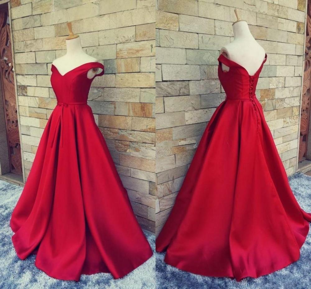 9282f0f714c56 Newest Beautiful Red Evening Dresses Prom Dresses vestido de festa A-line  Simple Satin evening Dresses Pageant Dresses