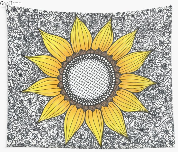 Sunflower Pattern Wall Tapestry Cover Beach Towel Throw