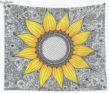 Sunflower Pattern Wall Tapestry Cover Beach Towel Throw Blanket Picnic Yoga Mat Home Decoration