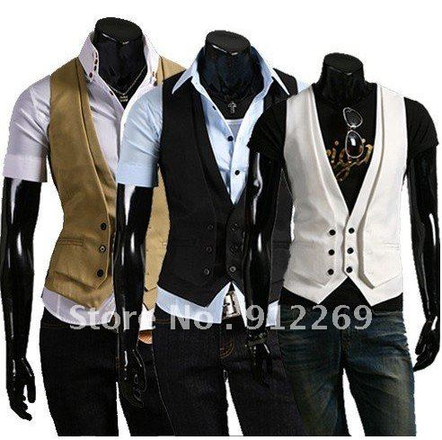 Fashion Style Men 39 S Suit Vest Fake Two Piece Blazer Tuxedo Vest Waistcoat Beige Khaki Black