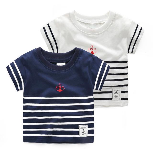 Los niños del verano Camiseta de algodón Deportes Tee embroma la camisa del muchacho 2-6Y Del Bebé Niños niños Rayas Camisetas Tops Camisa