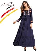 Арцу Boho Стиль Для женщин сарафан Ретро Этническая цветок Вышивка свободные Плиссированное Платье Макси роковой 2018 Новый Повседневное длинное платье
