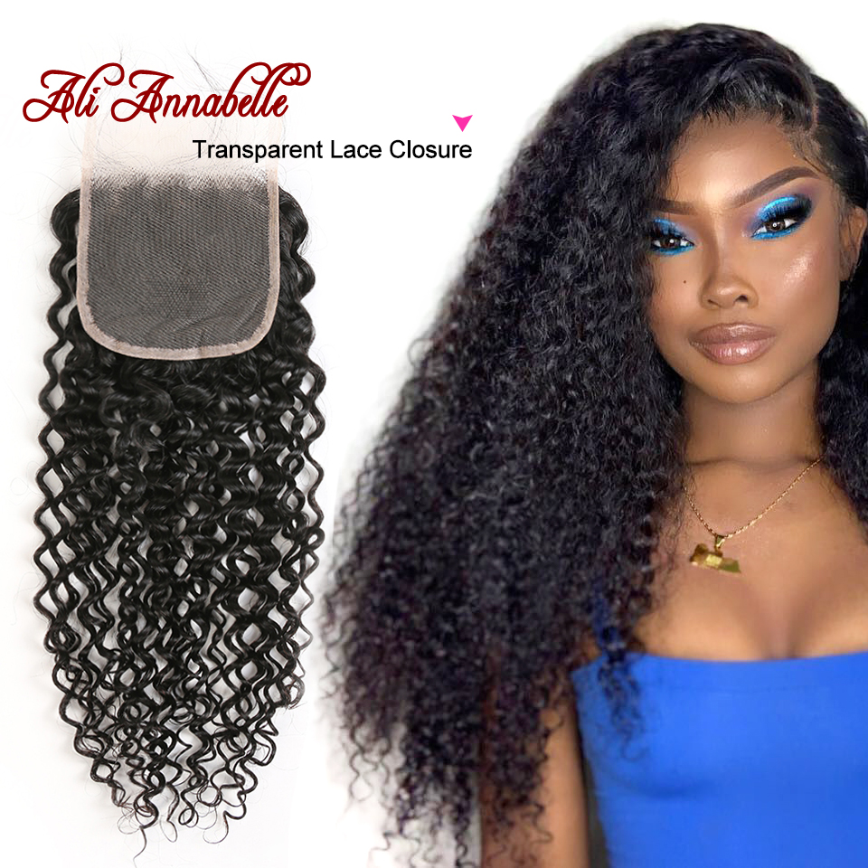 Brazilian Kinky Curly Human Hair Transparent Lace Closure 4 4 Swiss Lace Closure with Baby Hair