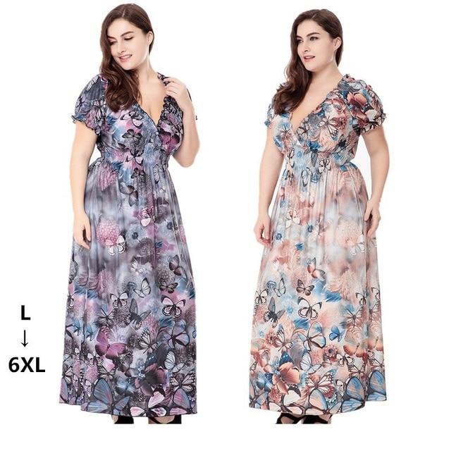 2019 Women Boho Floral Print Ice Silk Long Dress Plus Size 4XL 5XL ...
