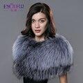 ENJOYFUR nova pele do inverno lenços para as mulheres reais da pele de fox shouder proteger manter quente pashmina xale 2016 moda na Rússia lenços