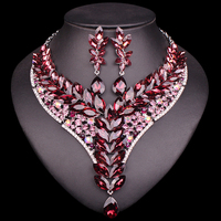 New Indian Jewellery sets crystal Bridal Jewelry Sets Rhinestone Party Wedding Costume Necklace Earrings Sets for brides Woman
