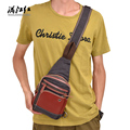 Canvas Unisex Chest Sling Bag Patchwork Zipper Casual Crossbody Bag Vintage Single Shoulder Bags For Men
