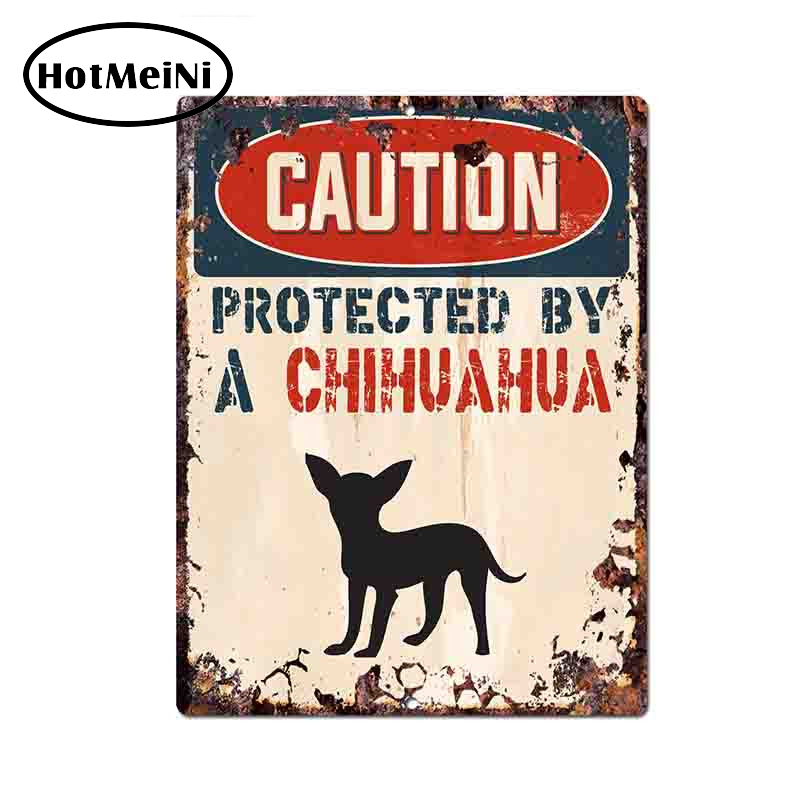HotMeiNi 13*10cm Caution Protected By Chihuahua Warning Funny Car Sticker Decal Vinyl JDM Car Styling Accessories