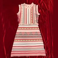Luxury Knitting Dress 2018 Elegant Women Slim Dress Striped Sleeveless O Neck Dress Brand Designer