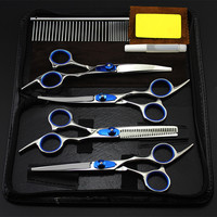 5 kit Professional Japan pet 6 inch shears dog grooming comb hair scissors cutting curved barber thinning hairdressing scissors