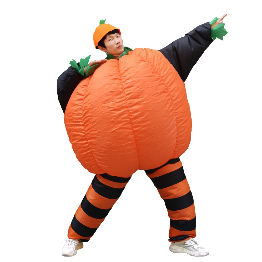 Inflatable Pumpkin Costume Halloween Party Carnival Cosplay Fancy Dress Blow Up Suit for Women Men Adult Inflated Garments Cloth