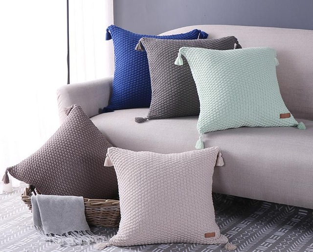 2017 Nordic Tassel Cushion Knitted Pillow Cover Cable Knit Cushion Decorate Pillows Cotton Coussin Cojines