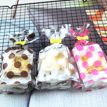 100pcs/lot Pink Brown White Dot Gift Bag DIY Candy Cookie Biscuit Small Plastic Packing Bags For Baby Shower Souvenir Event
