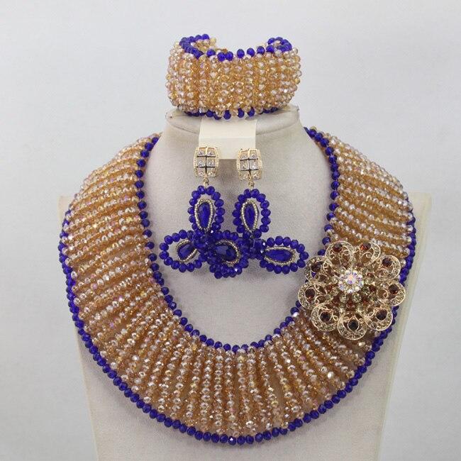 Großhandel Gold/Champagne Afrikanische Perlen Schmuck Set Royal Blue Nigerian Halsketten Armband Ohrringe Set Geschenke Freies Verschiffen QW682