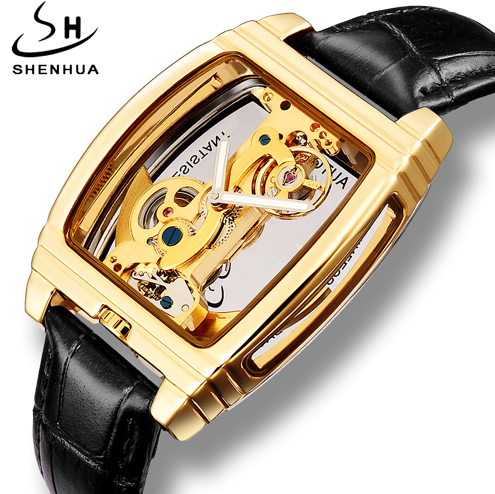 Shenhua 2019 Transparent Gold Watch Men Mechanical Automatic Watches Clock Leather Self Winding Mens Wrist Watches montre hommeShenhua 2019 Transparent Gold Watch Men Mechanical Automatic Watches Clock Leather Self Winding Mens Wrist Watches montre homme