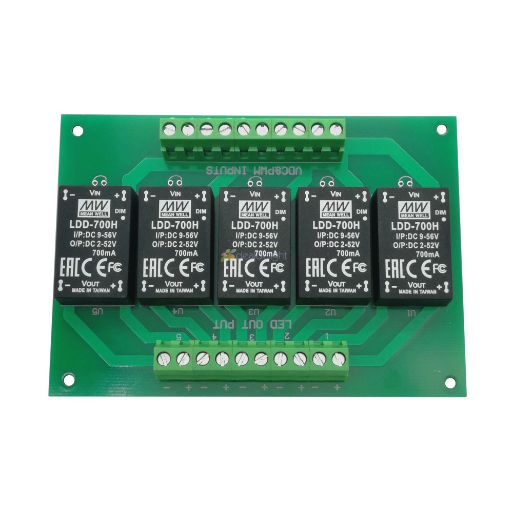 5 Channel Led Driver Board With LDD350H LDD500H LDD600H LDD700H LDD1000H MEANWELL Original Constant Current Step-Down LED Driver