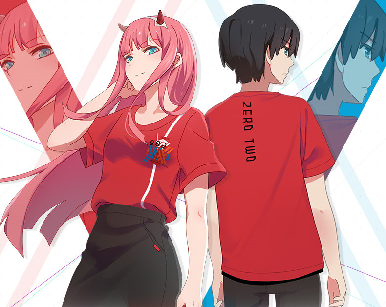 Hot Anime DARLING in the FRANX Cosplay Costume ZERO TWO Red Casual T Shirt Unisex Short Sleeves Summer Cotton Round Neck Shirts
