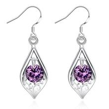 AKOYW 2016 Hot retro fashion style earrings luxurious AAA Amethyst silver earrings earrings female jewelry semi-precious stones