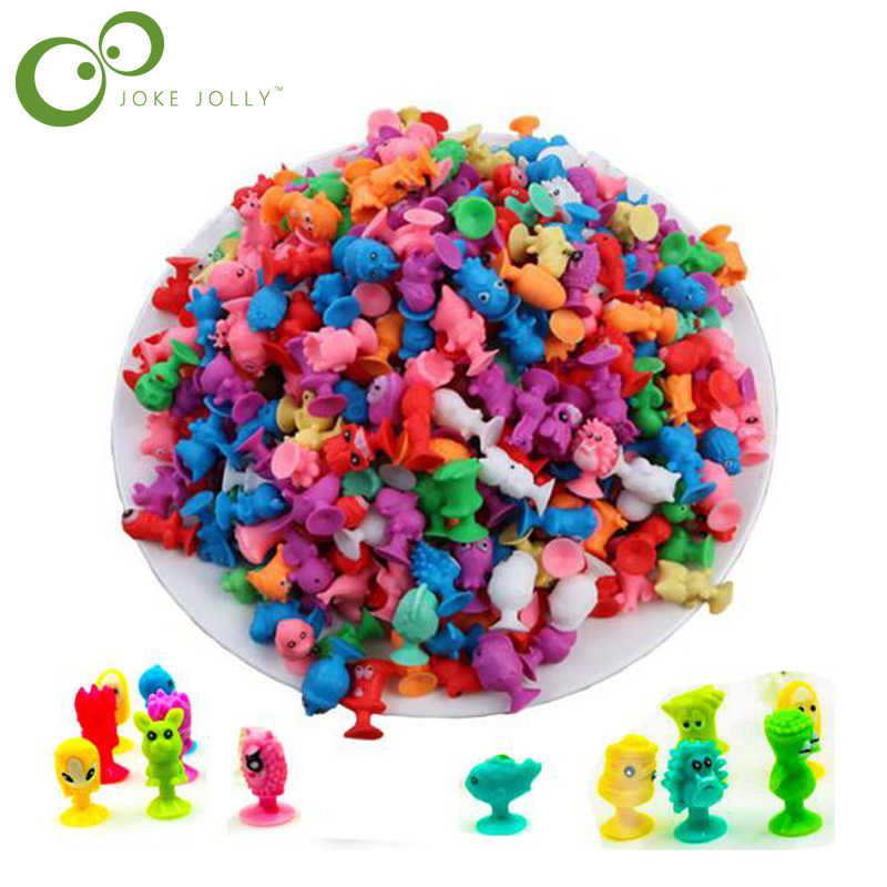 40pcs/lot Mini Sucker Dolls Marine Land Strange Animal Cupule Suckers kids Action Toy Capsule Model Suction Cup Puppets WYQ