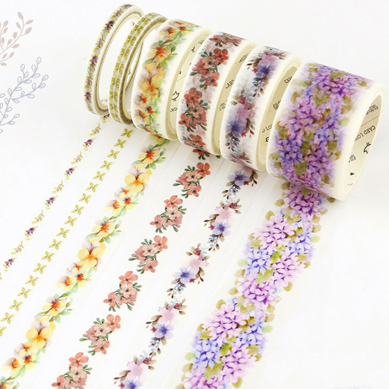 Cute flowers Kawaii  Washi masking Tapes Washi Tape Diy Colorful Adhesive Tape Sticker Stationery School Supplies Papeleria all shops decorative masking tape washi tapes kawaii school tools kawaii cinta adhesiva decorativa diy stickers stationery
