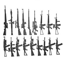 "18 Pcs 4D 1:6 Rifle Model for 12"" Action Figure Weapon Old Version Easy Assemble Black Gun Model Toy AK74 AK47 M16A1 RPG(China)"