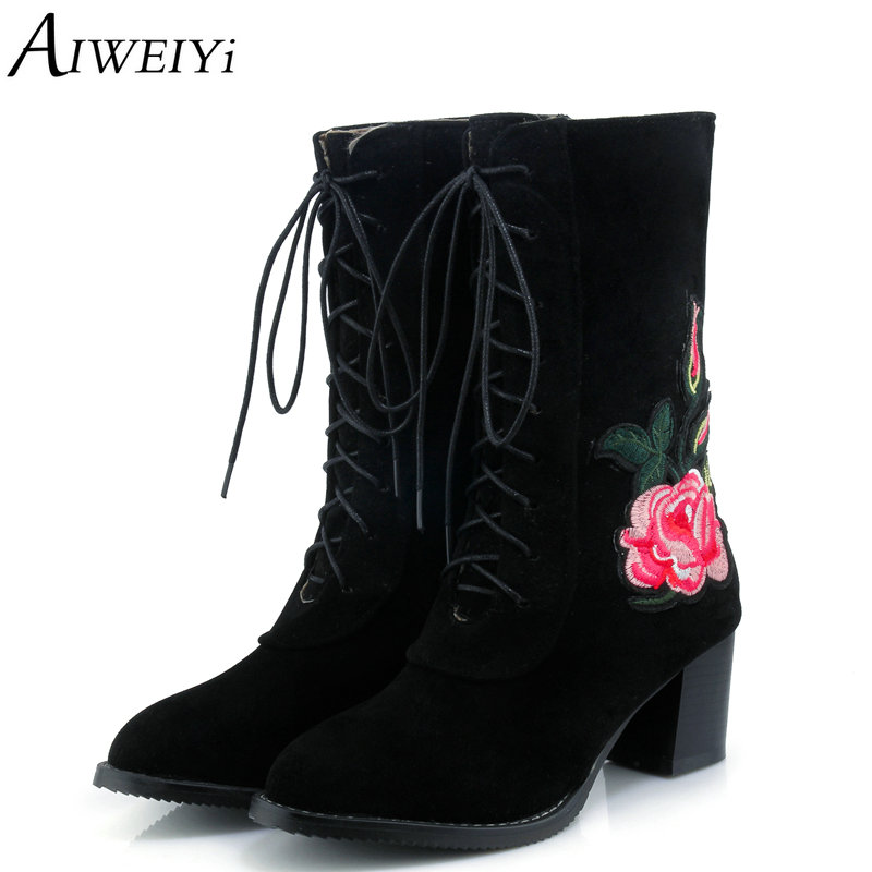 AIWEIYi  Women Mid Calf Boots Square High Heels Lace Up Half Knee Boots Floral Platform Pumps Shoes Female Autumn Winter Boots zippers double buckle platform mid calf boots