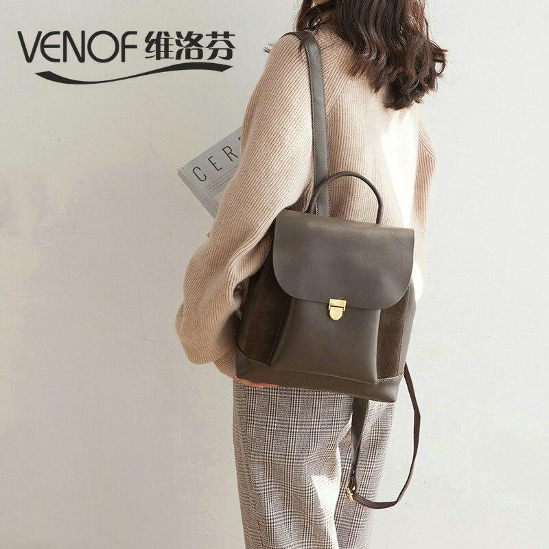 VENOF Fashion women travel shoulder bag luxury split leather backpack for women top grade mochila feminina bag ladies backpack