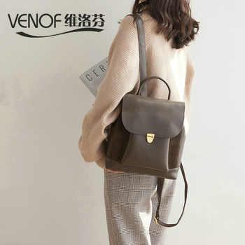 VENOF Fashion women travel shoulder bag luxury split leather backpack for women top grade mochila feminina bag ladies backpack - DISCOUNT ITEM  45% OFF All Category