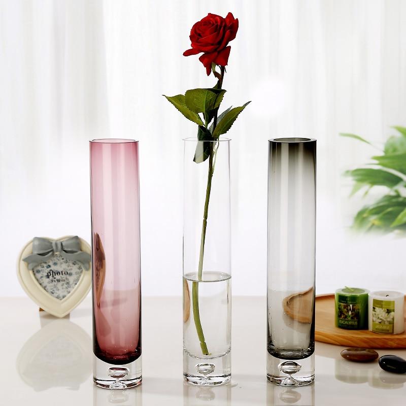 Transparent straight glass vase Bottle bottom bubble Multi Color flower vases terrarium glass container Bottle wedding decor in Vases from Home Garden