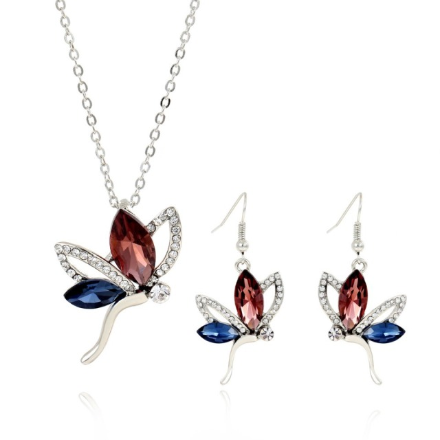 Women s Vintage African Jewelry Sets Necklace + Earrings Wedding sets Free  shipping Butterfly Charm Silver Chain 1fcd19894