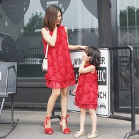 Tassel dress for kid girl mother party family matching tops mom and daughter matching featherdress clothes sleeveless red summer