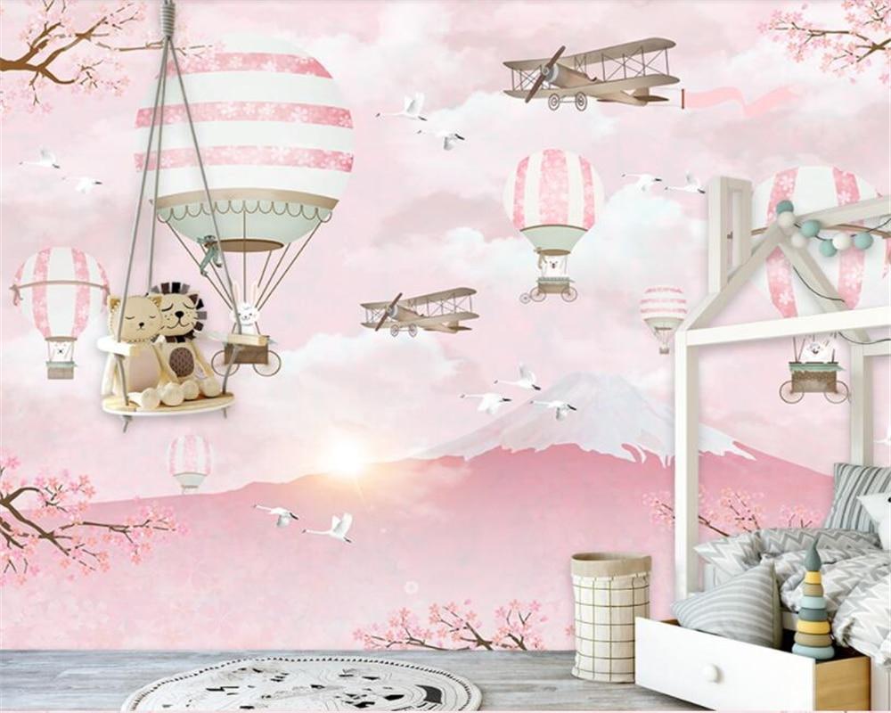 Beibehang Customize Any Size Wallpaper Mural Photo Personality Warm Cartoon Hot Air Balloon Children S Wall Murals
