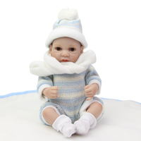 11 inches Lifelike Boy Reborn Baby Doll Full Silicone Mini Realistic Babies Dolls Wearing Knitted Clothes Gift For Children