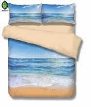 Прибрежные пляж 3D Постельное бельё печати пододеяльник twin Королева Король красивый узор реальный эффект реалистичные простыней Лен