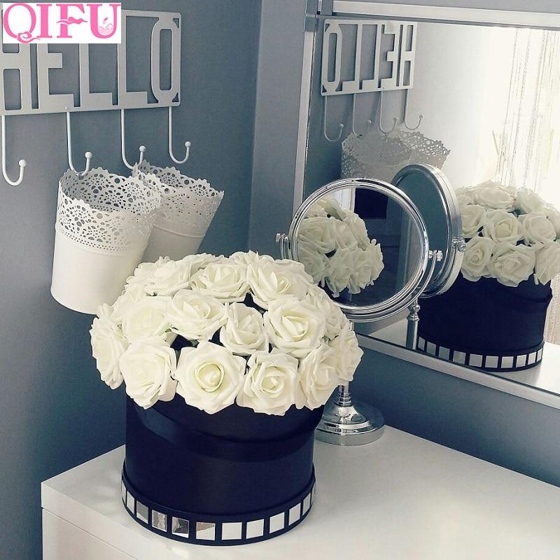 QIFU Rustic Wedding Decoration 10pcs 8cm Foam Rose Flowers Bridal Shower Valentines Day Gift Team Bride To Be Weeding Decor