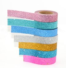 1X powder Washi Tape Glitter Color Japanese Stationery 15mm* 5meter Kawaii Paper Scrapbooking School Tools Decorative Tapes Mask