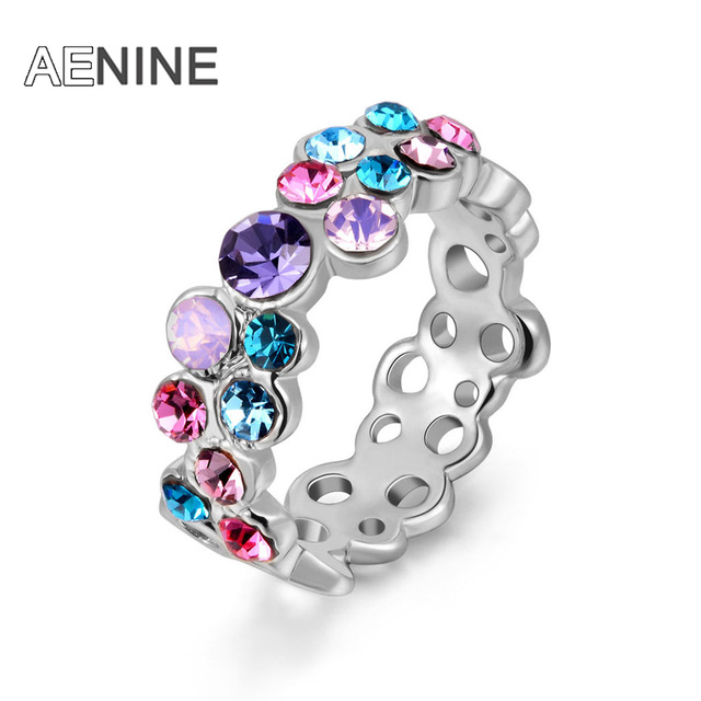 AENINE Fashion Colorful Austrian Crystal Ring Rose Gold Color Gift Jewelry for W