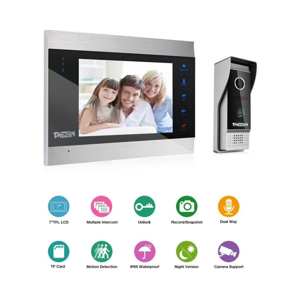 TMEZON 7 дюймов TFT Проводная система видеодомофона с 1x 1200TVL Водонепроницаемый дверной телефон камера, поддержка записи/снимка дверной Звонок - 2