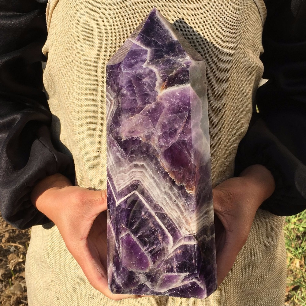 2.5kg Big size Natural Dream  Amethyst Quartz Obelisk Large Crystal Wand Point Healing Fengshui for home decoration2.5kg Big size Natural Dream  Amethyst Quartz Obelisk Large Crystal Wand Point Healing Fengshui for home decoration