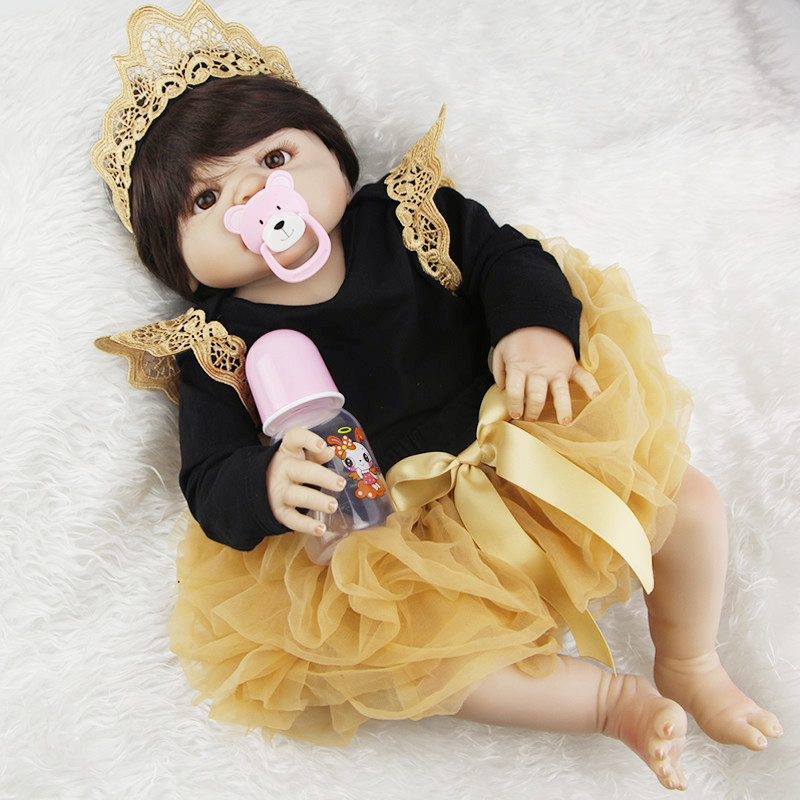 NPK 23inch Full Silicone Reborn Baby Dolls Princess Adorable Kids Brinquedos Toy The Best gift for girls&daughter Free Shipping