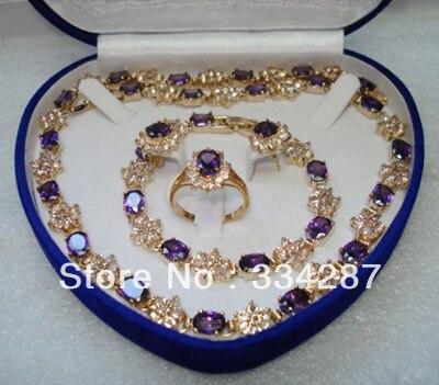 red blue purple zircon earring bracelet ring necklae