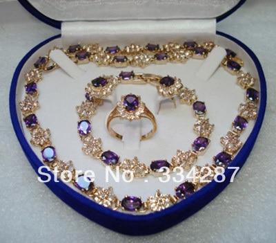 Rot/blau/lila zirkon ohrring armband ring/necklae-in Schmucksets aus Schmuck und Accessoires bei  Gruppe 1