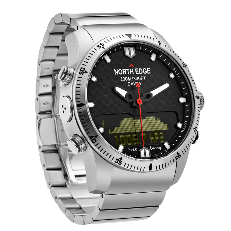 NORTH EDGE Quartz Watches Dive Men Waterproof 100M Stainless Steel Clock Relogio Masculino Mens Electronic Watch Sports Watches