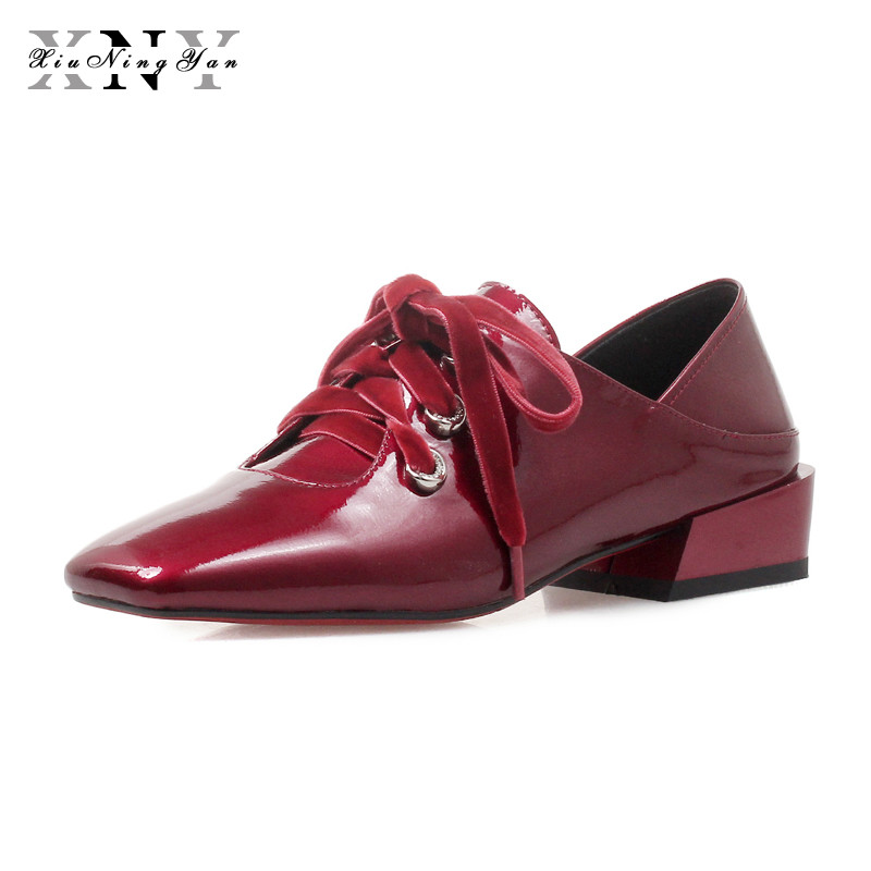 XIUNINGYAN Genuine Leather Women Brogues Lady Vintage Flats Shoes Woman Handmade Lace Up British Style Sneakers