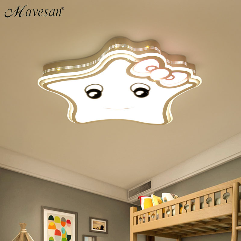 Surface mount Ceiling Lights star shape for baby room romantic bedroom lamps luminaria Ceiling Lighting Fixtures Deckenleuch creative star moon lampshade ceiling light 85 265v 24w led child baby room ceiling lamps foyer bedroom decoration lights