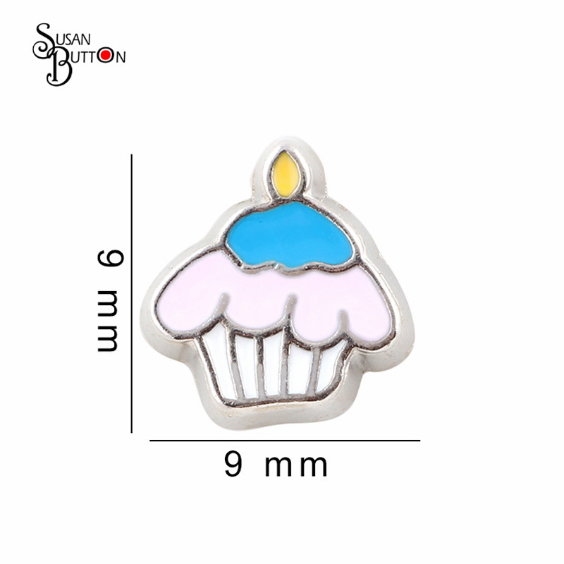 20PCS/Lot Zinc Alloy Enamel Sweet Cup Cake Floating Locket Charms For Living Glass Memory Floating Locket Pendants