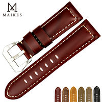 MAIKES New Design Watchbands 22 24 26mm Vintage Genuine Cow Leather Watch Strap Band Watch Accessories